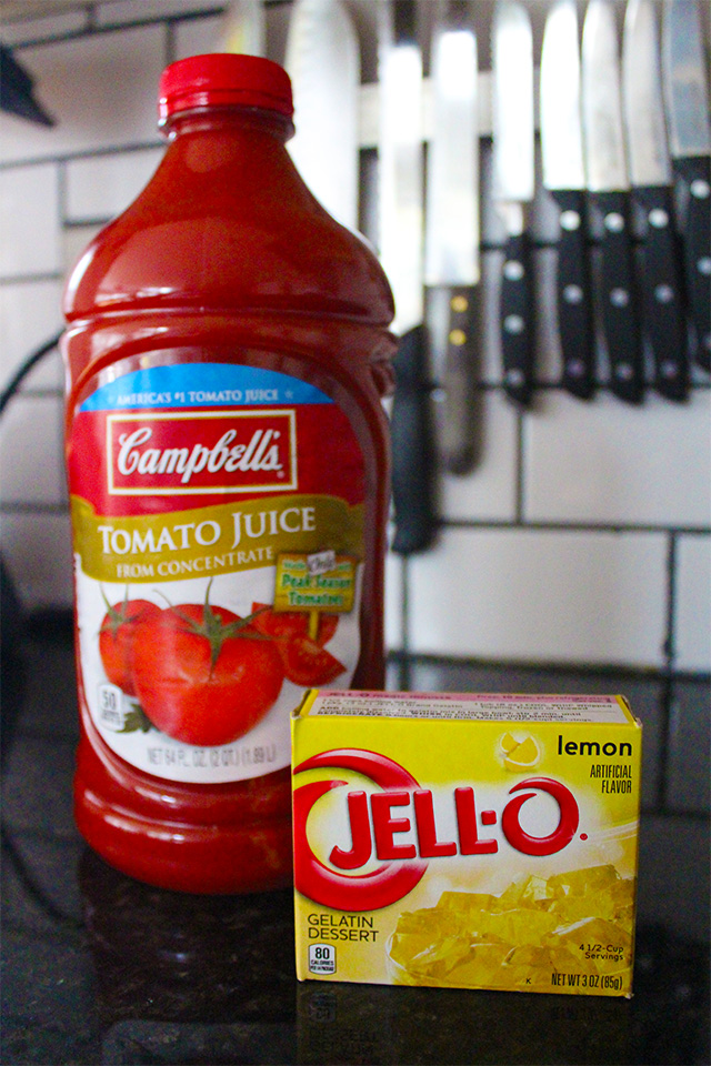 ... because who wouldn't think of mixing tomato juice and lemon Jell-O?