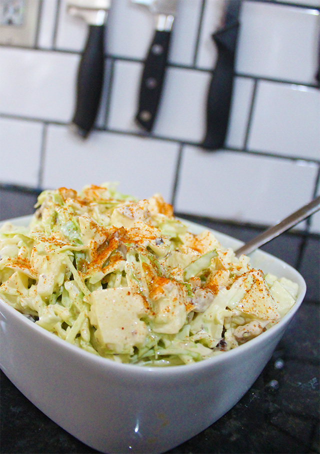 Apple, cabbage and walnut salad